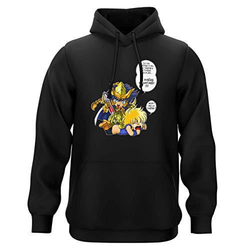 Okiwoki Sweat-Shirt à Capuche Noir Parodie Saint Seiya - Hyoga du Cygne et Milo Chevalier d'or du Scorpion - Non ! Pas la piqûre ! (Sweatshirt de qualité Premium de Taille XXL - imprimé en France)