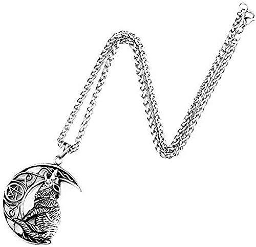 LBBYMX Co.,ltd Collar Retro Nórdico Metal Colgante Collar Luna Lobo Accesorios Originales de joyería de Animales