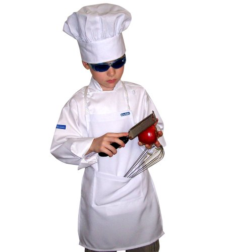 CHEFSKIN WHITE APRON KIDS CHILDREN AVAILABLE IN ALL SIZES REAL FABRIC 100% POLY NICE GIFT or PARTY FAVOR (20, MEDIUM (8-12 yrs))