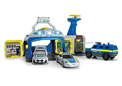 Dickie Toys 203717004 SWAT Station, Polizeistation, Spielstation, Set Polizei, Sondereinheit, Polizeiauto Spielzeug mit vielen Funktionen inkl. 3 Autos, Spezialeinheit, Mehrfarbig