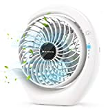 SUNGYIN USB Desk Fan,3 Speeds Rechargeable USB Personal Fan Portable Small Table Quiet Fan with 3 Speeds 180° Adjustment,Strong Wind Desktop Fan for Travel Camping Office Home(6.2 inch, 3600mAH) White