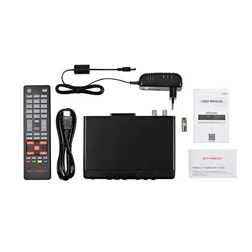GT MEDIA X8 Combo Decoder Digitale Terrestre DVB-T2 HEVC 10 Bit Ricevitore Satellitare TV SAT HD con Slot per Schede per Tivusat, DVB-T2/ S2X/ Cavo Supporta Full HD/ H.265 HEVC 10 Bit con WiFi/ HDMI