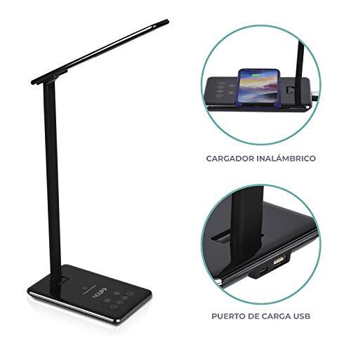 NGUP. Led-bureaulamp met draadloze oplader Qi en USB, nachtkastlampje, leeslampje, touch-Flexo, 4 kleurtemperaturen, dimbare helderheid en timer.