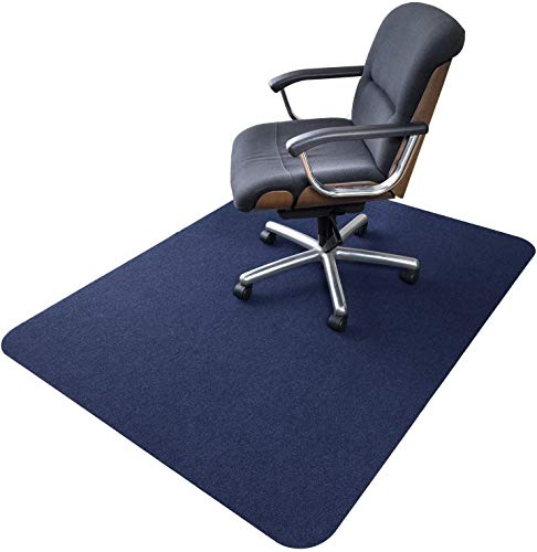 Office Chair Mat, Upgraded Version - Hard Floor Mat for Desk, 1 6  Thick 63 x51  Low-Pile Office Desk Chair Mat for Hardwood Floors, Multi-Purpose Protector Chair Carpet for Home (Dark Blue)