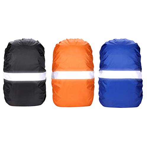 3 pcs Waterproof Backpack Rain Cover, Backpack Protector with Reflective Strap, Rucksack Daypack Rain Cover for Hiking Cycling Traveling Camping Outdoor Activities