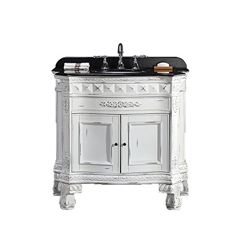 Ove Decors York 36 Vanity with Black Granite Countertop and 18 Oval Undermount Basin, 36-Inch, Antique White/Gold