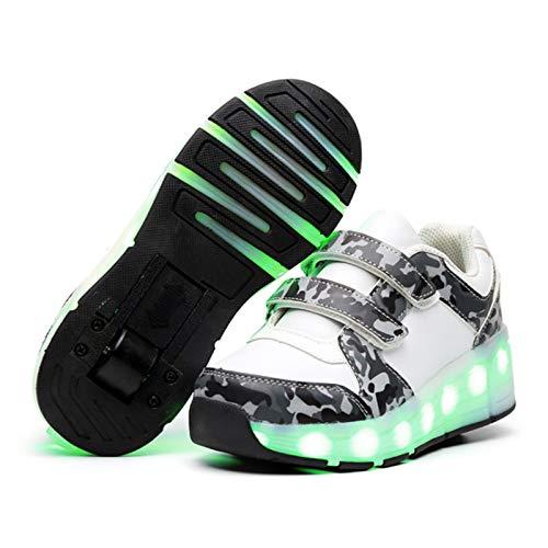 WOFEI Unisex Skateboard Schuhe Rollschuh Schuhe Einzelrad Rollenschuhe LED-Skateboard Lichter Blinken Schuhe Räder Schuhe Turnschuhe Mit 2 Rollen,35