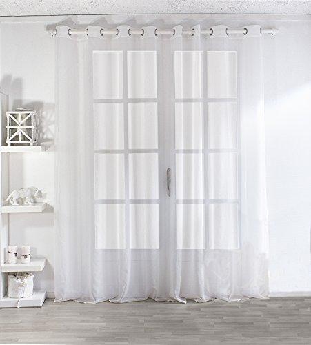 Enjoy Home 2001BC300240 Voilage Sablé Grande Largeur 300x240cm avec 8 Œillets Blanc, Polyester, 240x240 cm