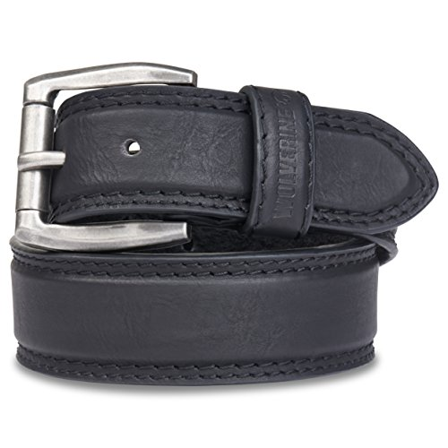 Wolverine Men's Double Topstitched Leather Belt Roller Buckle (38,Brown)