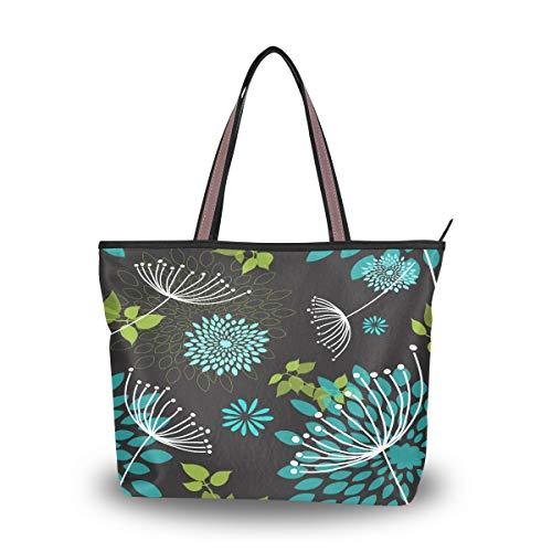 Emoya Fashion Damen Handtasche Pusteblume Blumen Blätter Tote Schultertasche Top Griff Tasche für Frauen, Mehrfarbig - multi - Größe: Large