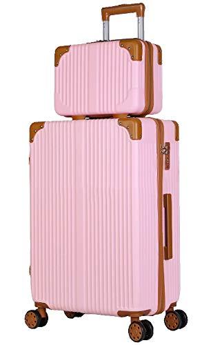 「親子セット」機内持込キャリーバッグ キャリーケース スーツケース 化粧ケース ミニトランク ビジネスキャリーバッグ TSAダイヤル式ロック搭載 機内持込 (フルーツピンク, S)