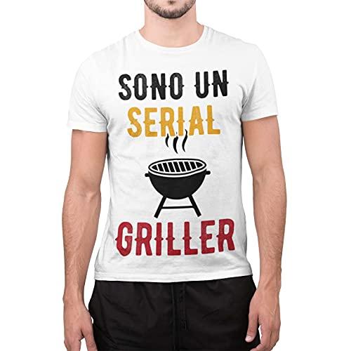 CHEMAGLIETTE! Maglietta Uomo T-Shirt Divertente con Stampa Ironica Sono Un Serial Griller Tuned, Colore: Bianco, Taglia: M