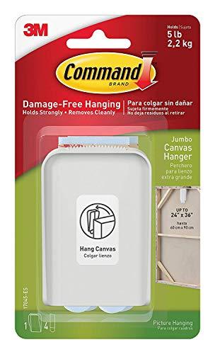 Command Jumbo Canvas Hanger LB7L8P7, 2-Hook, 8-Large Strips