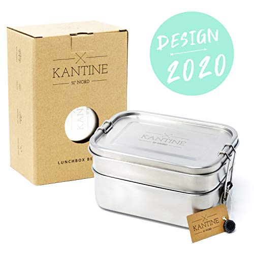 Kantine 51° Nord ® Lunchbox Bento | NEU 2020 | Auslaufsichere 1200ml Edelstahl Brotdose mit 2 Fächern