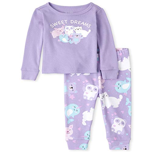 The Children's Place Girls' Baby and Toddler Glow Animals Snug Fit Cotton Pajamas, Noble Violet, 12-18 Months