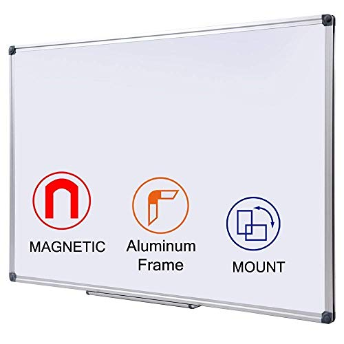 48 x 36-in Magnetic Dry Erase Board with Pen Tray| Aluminum Frame Portable Wall Large Whiteboard Message Presentation Board for Kids, Students & Teachers