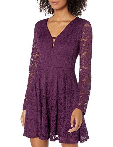 Speechless Junior's Long Sleeve Lace Dress, Plum, 5