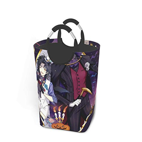 Black Butler Happy Halloween Circus Japan Animelarge Laundry Basket Bag with Handle for Washing Dirty Laundry, Foldable Dirty Laundry Basket Can Be Folded for Storage