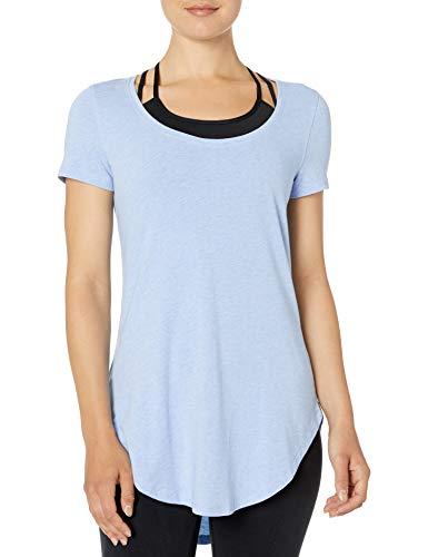 Amazon Brand - Core 10 Women's Pima Cotton-Blend Short Sleeve Yoga Tunic, Sky Blue Heather, Medium