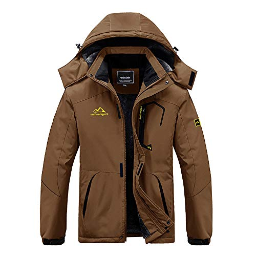 BIYLACLESEN Fleece Jacket with Hood Outdoor Sports Jacket Casual Jacket Coat Travel Walking Jacket Ski Snowboarding Coat Winter Raincoats for Men Windbreaker Coffee
