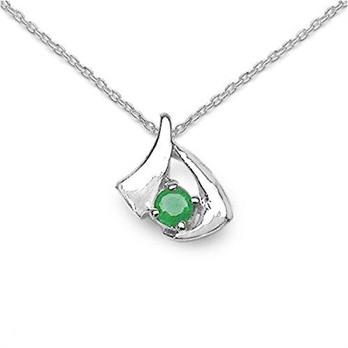 Schmuck-Schmidt-Collier/Kette Anhänger-Smaragd (Emerald) 925Silber-Rhod.