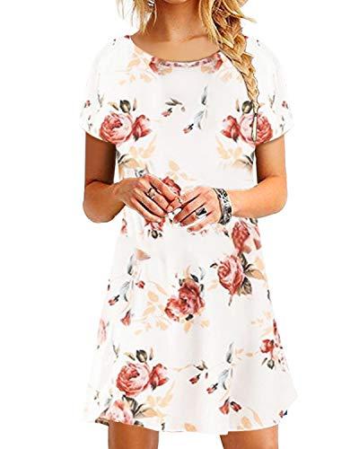 YOINS Sommerkleid Damen Tunika Tshirt Kleid Bluse Kurzarm MiniKleid Boho Maxikleid Rundhals ,Kurzarm-weiß,CN XS