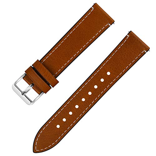 Fullmosa Uhrenarmband Leder mit Schnellverschluss, Wax Oil Serie in 22mm,Hellbraun+Silber Schnalle