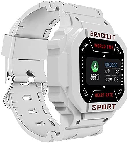 Muestra multifunción Pantalla Cuadrada Música Saludable Bluetooth Sports Watch (Rosa) (Color : White)