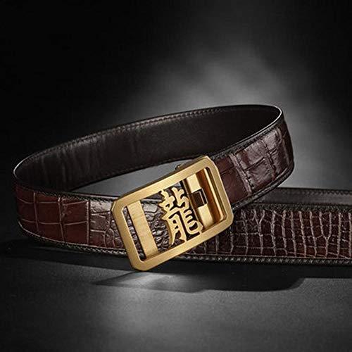 HAIPAITX Top Chinesisches Schriftzeichen Drache Edelstahl Automatische Formale Gürtel Männer Pack,Coffee Gold Buckle,125cm 37to40 Inch