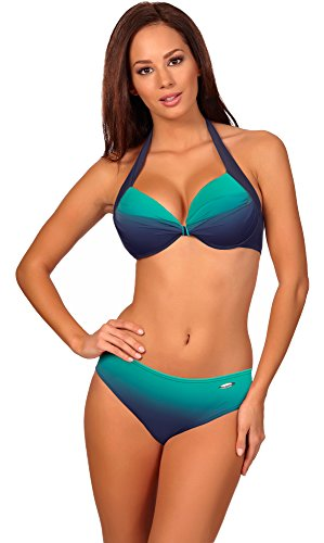 aQuarilla Damen Bikini Set 71R71D4S (Navy/Minze, 38)