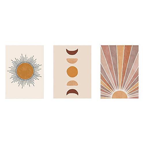 Poster Abstracto del Paisaje de la Luna del Sol Boho Impresiones del Arte de la Pared Pintura Minimalista de la Lona Sala de Estar del hogar Moderno Cuadros Beige Decoracion 40x60cmx3 Sin Marco