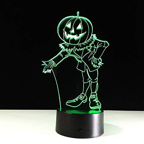 YDBDB Disfraces de Halloween Calabazas 3D Luz de Noche Visual Led Usb Lámpara de Mesa de Escritorio Para la Lámpara de Atmósfera Casera Bebé Sueño Iluminación