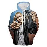 CHOUYI E-Minem Hoodies Mens 3D Printed Hoodies, Hooded Sweatshirts with Pockets XL White