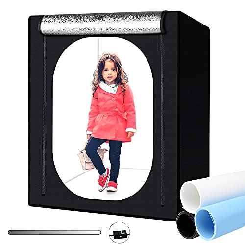 Heorryn Professional Photo Light Box, 55''/140cm Photo Studio Box Folding Shooting Tent Kit with 576 Brightness Dimmable LED Lights & 3 Backdrops for Portrait Furniture Clothing Photography