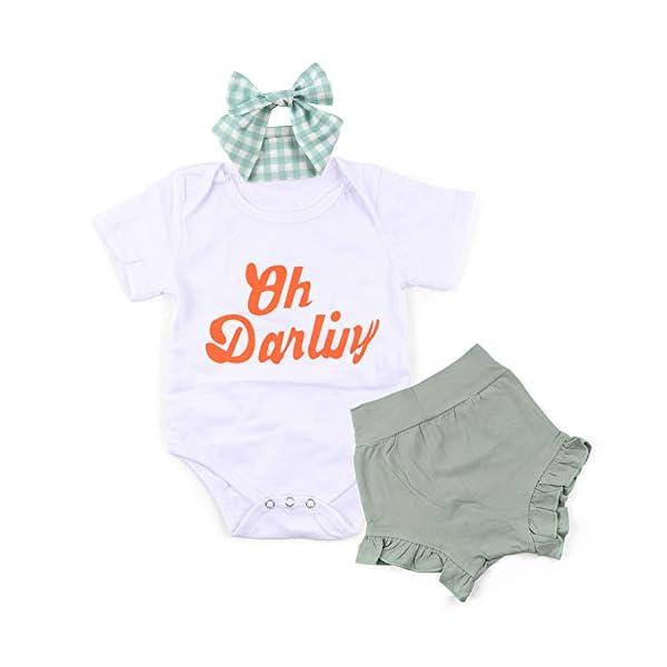 ARLAYO Newborn Baby Clothes Romper Toddler Girl Bodysuit Summer T Shirt Pants Headband