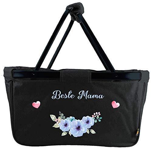 Mein Zwergenland faltbarer Einkaufskorb Beste Mama, Korb klappbar 28 L, Faltkorb mit Blumenmuster schwarz