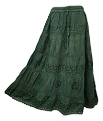 100% Cotton Lightweight Summer pretty festival Boho tiered gypsy five tiered skirt. The embroidery is only on the front. The back is plain where the tiers are divided by lace Measurement: Length is 40 inches ; Elasticated waist with a drawstring that...