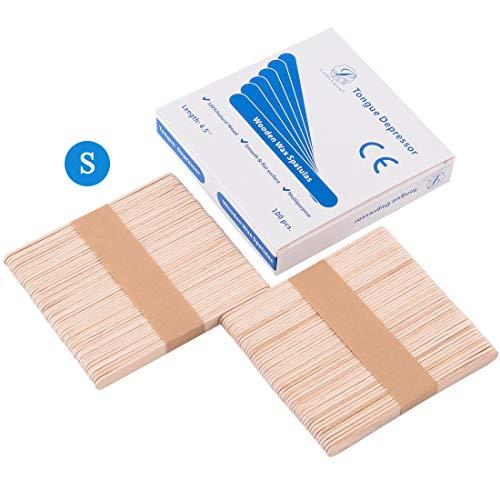 Holzspatel,LUOLLOVE® 100 Stück Klein Wachs Spatel Basteln Mundspatel zum Auftragen von Wachs Haarentfernung,11,4 x 1 cm