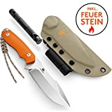 Wolfgangs AMBULO Outdoor-Messer mit Kydex Holster - Aus einem Stück D2 Stahl gefertigt - Inklusive Feuer-Starter und Notpfeife (Orange)