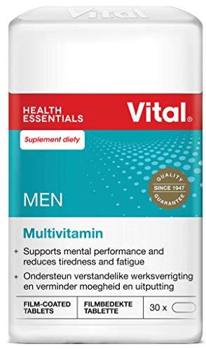 Vital Men – Multivitamina Daily Oral Inmunitario Booster Suplemento de vitaminas (30 pastillas), complejo de vitamina B, calcio y magnesio