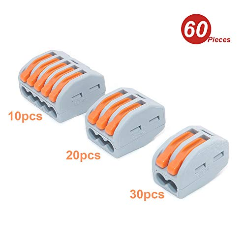 DollaTek 60 stuks Lever moer wire connector assortiment pak ladder compact splitkoppeling lever moer kit voor vaste flexibele draden 250 V 20A serie - 2,3,5 poort