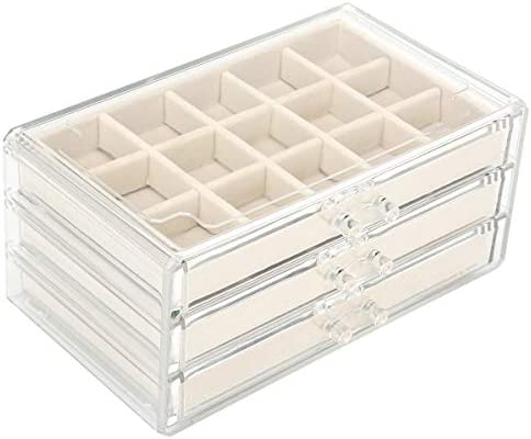 FEISCON Acrylic Jewelry Organizer Makeup Cosmetic Storage Organizer Box Clear Jewelry Case with product image
