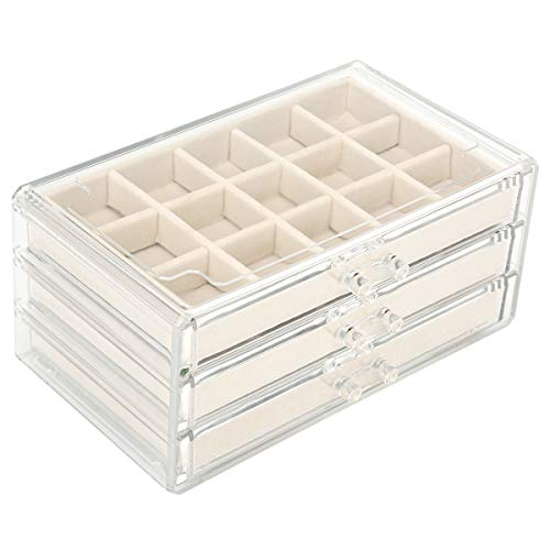 FEISCON Acrylic Jewelry Organizer Makeup Cosmetic Storage Organizer Box Clear Jewelry Case with 3 Drawers Adjustable Jewelry Box Velvet Trays Grid Size
