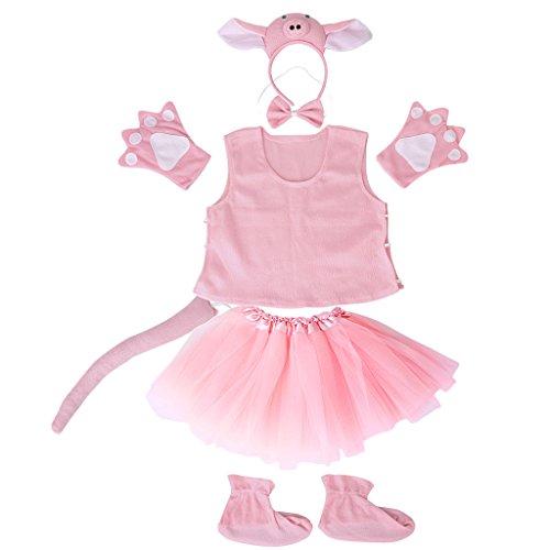 Ensemble de 7pcs Costume de Cochon Cosplay pour Enfants Filles Déguisement Mascarade - Rose