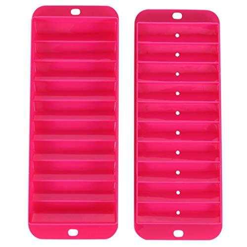 MULIN 2 Set Rectangular Portable Ice Cube Tray Mold, Suitable for Spring and Summer, Quick Freezing, with Stackable & Removable Lid, Durable, Easily to Pull Out Ice Tray Moulds Orange