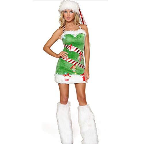 HZH El árbol de Navidad Verde Juega el Disfraz de Navidad, el Disfraz de Navidad para Mujeres Adultas con Falda de...