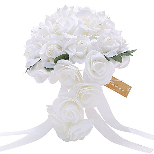 Bodarind Ramo de Rosas Artificiales para Novia, Cascada, para Novia, Dama de Honor y decoración