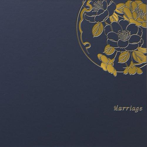 クラウンハート 2面 4切 2枚 雅(みやび)柄 紺 「Marriage」 ゴールド箔  写真台紙 2面アルバム 七五三 結婚式 成人式 ベビー 四つ切り 四切 2面台紙