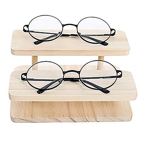 Fransande Soporte para gafas de sol de bambú ensamblable, para exhibición de joyas, relojes de pulsera, 2 capas