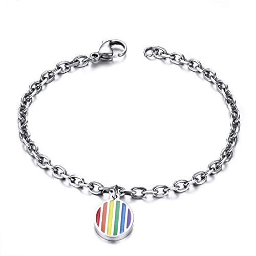 FOXI YOUTH Acero quirúrgico para Mujer Hipoalergénico LGBT Gay Pride Lesbian Wristband Pulsera Rainbow Tag Silver